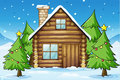 Wooden house illustration of a in snowy land Stock Image