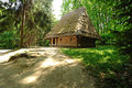 Wooden house in ukrainian skansen Royalty Free Stock Image