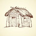 Wooden house. Vector drawing Royalty Free Stock Photo