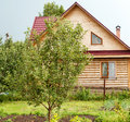 Wooden house in the village of log Royalty Free Stock Photos