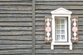 Wooden House Wall In Vintage Modern Rustic Style With Window Royalty Free Stock Photo