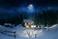 Wooden house in winter forest dragobrat Stock Image