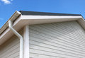 Wooden house wood construction roof and gutter Royalty Free Stock Image