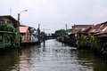 Wooden houses along the canals in thailand Royalty Free Stock Photo