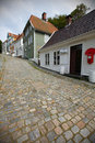 Wooden houses in Bergen on cobbled street Stock Photography