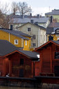 Wooden houses in Finland Royalty Free Stock Photo