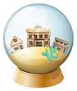 Wooden houses inside a dome illustration of the on white background Royalty Free Stock Photos