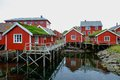 Wooden houses in norwegian village traditional on a water Stock Photography