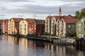 Wooden houses in trondheim norway Royalty Free Stock Photo