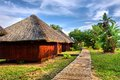 Wooden houses in tropical lodge park shot near sodwana bay nature reserve kwazulu natal province southern mozambique area south Stock Photos