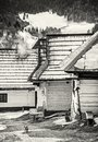Wooden houses in Vlkolinec village, Slovakia, Unesco, colorless