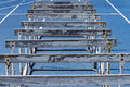 Wooden Hurdles On A Blue High School Track Royalty Free Stock Photo