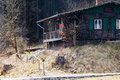 Wooden hut in the middle of the forest Royalty Free Stock Photo