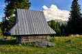 Wooden hut in mountains shepherd s used for cultural grazing and transhumance on rusinowa glade polish tatra Royalty Free Stock Images
