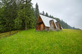 Wooden hut under tatra mountains in zakopane poland Stock Photography