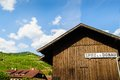 Wooden hut in wachau with sign on it Royalty Free Stock Images