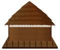 Wooden hut on wood raft