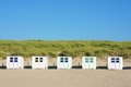 Wooden huts beach texel netherlands Royalty Free Stock Photos