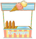 A wooden icecream stand illustration of on white background Stock Images