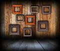 Wooden interior background with frames Stock Photography