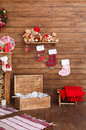 Wooden interior with Christmas decorations.