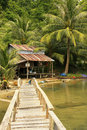 Wooden jetty at local village ream national park cambodia southeast asia Royalty Free Stock Photography