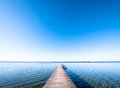Wooden jetty old at a lake Royalty Free Stock Photography