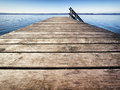 Wooden jetty old at a lake Stock Photography