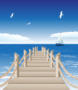 Wooden jetty vector illustration of Royalty Free Stock Photos
