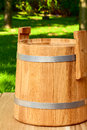Wooden keg beautiful for home salting vegetables Stock Photo