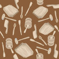 Wooden kitchen tools hand drawn pattern over brown background Stock Photos