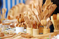 Wooden kitchenware and decorations sold on Easter market in Vilnius Royalty Free Stock Photo