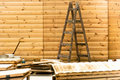Wooden ladder in a construction site Royalty Free Stock Photo