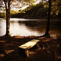 Wooden Lake Bench Royalty Free Stock Photo