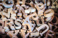 Wooden letters of the English alphabet for sale in the wood shop