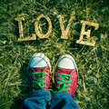 Wooden letters forming the word love on the grass, with a filter Royalty Free Stock Photo