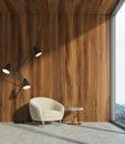 Wooden living room, white armchair