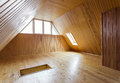 Wooden loft room interior background Stock Image