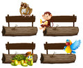 Wooden log sign with wild animals