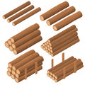 Wooden logs in the isometric. Brown bark of felled dry wood.