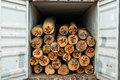Wooden logs loading of the container. Royalty Free Stock Photo