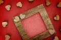 Wooden love frame Stock Photography