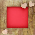 Wooden love frame Royalty Free Stock Photo