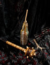 Wooden mace still life with and candle Royalty Free Stock Photos