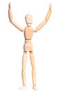 Wooden man with hands raised on white background Royalty Free Stock Image