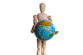 Wooden man holding a globe Royalty Free Stock Photo