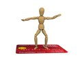 Wooden man stands on the credit card surfer pose Stock Images