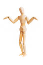 Wooden mannequin isolated on white Royalty Free Stock Photo