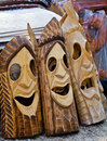 Wooden masks Stock Images