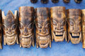 Wooden masks indian handicrafts fair at kolkata west bengal india november rd of handicraft on display during the handicraft in it Royalty Free Stock Images